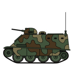 Camouflaged armored vehicle vector