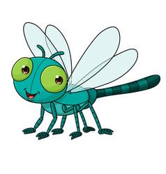 cartoon cute dragonfly vector image