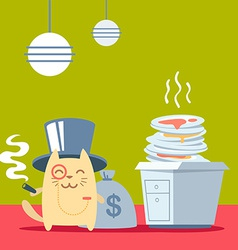 Character rich gentleman in a hat cylinder and a vector