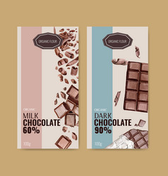 Chocolate packing design with bar broke vector