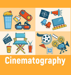 Cinematography concept banner cartoon style vector
