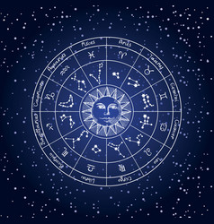 circle zodiac signs with sun on background of vector image