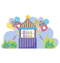 Circus toys store entertainment with balloons vector