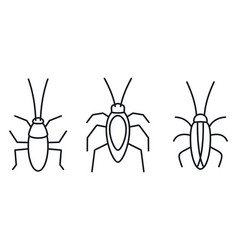 Cockroach bug icons set outline style vector