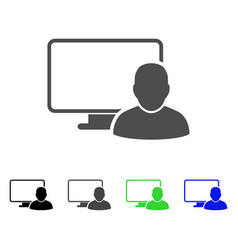 Computer user flat icon vector