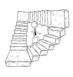 Conceptual cartoon of businessman walking up vector