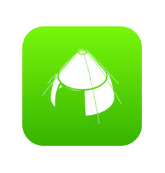 Conic tent icon green vector