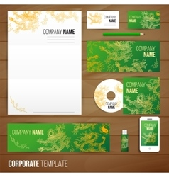 Corporate identity business set design with asia vector