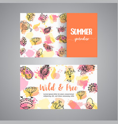 creative cards with flowers hand drawn floral vector image