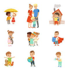 Cute little children protecting their family vector