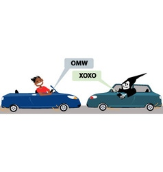Danger of texting and driving vector image