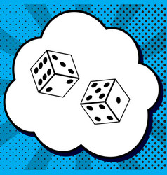 dices sign black icon in bubble on blue vector image