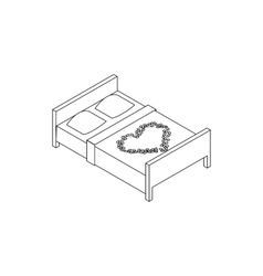 Double bed icon isometric 3d style vector