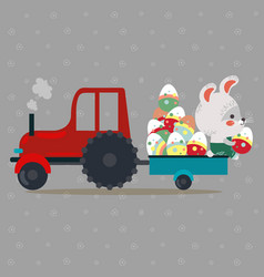 easter bunny drive car with truck decorated eggs vector image