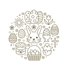 easter card circle template with flat line icons vector image