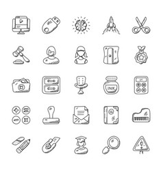 Education hand drawn icons set vector