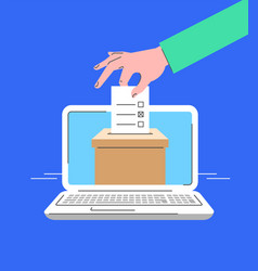 electronic voting computer online flat concept vector image