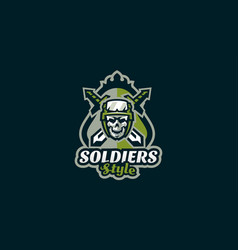 emblem of the soldier logo military skull vector image