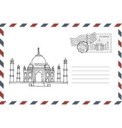 envelope with hand drawn taj mahal in india vector image
