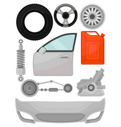 Flat set of automobile parts door front vector