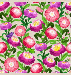 flowers seamless pattern spring floral vector image