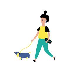 Girl and dog vector