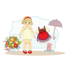 girl doll with clothes vector image