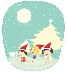 Girls in snow vector