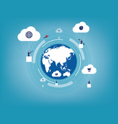 global innovation with business communication vector image