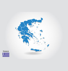 greece map design with 3d style blue greece map vector image