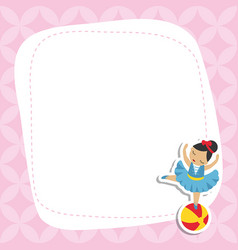greeting card with cartoon girl gymnast greeting vector image