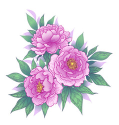 hand drawn floral bunch with peony flowers and vector image