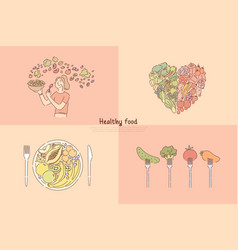 healthy eating fruit and vegetables meal vector image