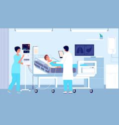 Hospital room patient in bed doctor nurse vector
