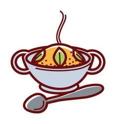 Hot mexican rice in bowl with handles and metal vector