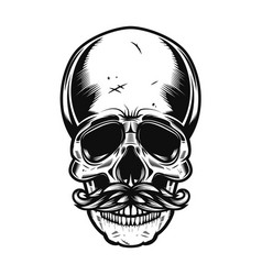 human skull with mustaches isolated on white vector image