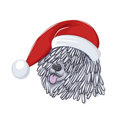 Hungarian sheepdog wears christmas hat vector