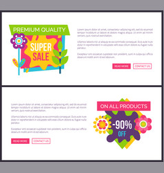 Internet pages set special promotion landing pages vector