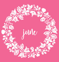 June sign with wreath on pink background vector