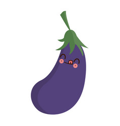 kawaii eggplant vegetable fresh food image vector image