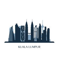 Kuala lumpur skyline monochrome silhouette vector