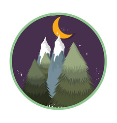Landscape with snow mountain in the night vector