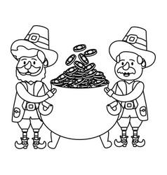 Leprechaun couple with pot of gold vector