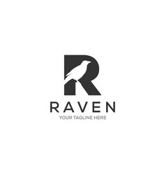 letter r raven logo designs minimalist logotype vector image