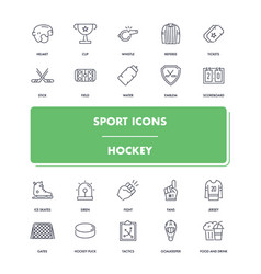 line sport icons set hockey vector image