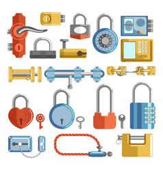 lock and key door handle and padlocks home vector image