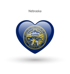 Love Nebraska state symbol Heart flag icon vector image