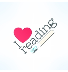 Love reading banner with heart and book in vector