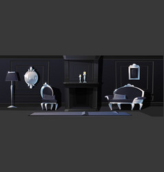Luxury black hall with silver moldings vector