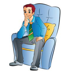 man sitting on a soft chair vector image